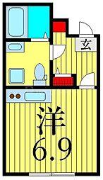 JR山手線 田端駅 徒歩10分の賃貸マンション 4階ワンルームの間取り