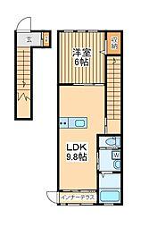 JR南武線 稲城長沼駅 徒歩8分の賃貸アパート 2階1LDKの間取り