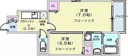 リーブスガーデン 1階1SKの間取り