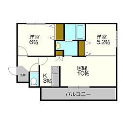 北海道札幌市白石区平和通16丁目の賃貸マンションの間取り