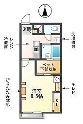 愛知県海部郡蟹江町緑2丁目の賃貸アパートの間取り