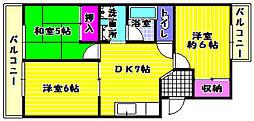 サンマックマンション[1階]の間取り