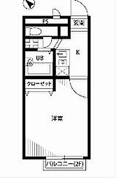 東京都日野市豊田2丁目の賃貸アパートの間取り