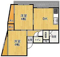 ロイヤルメゾン武庫之荘9[201号室]の間取り