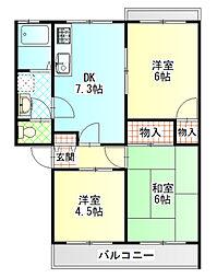 グリーンサイドマンション[3階]の間取り