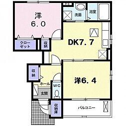 香川県三豊市豊中町下高野の賃貸アパートの間取り