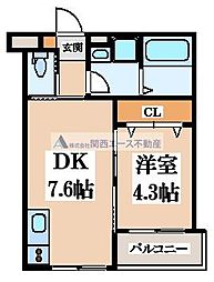 (仮称)東大阪市稲田上町1丁目計画 2階1DKの間取り