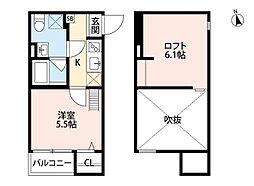 Osaka Metro四つ橋線 住之江公園駅 徒歩10分の賃貸アパート 2階1Kの間取り