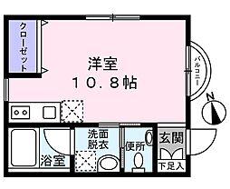 Le ciel ogura(ル シエル オグラ) 1階ワンルームの間取り
