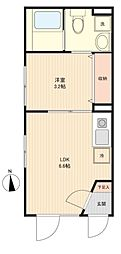 JR京浜東北・根岸線 蒲田駅 徒歩8分の賃貸マンション 2階1DKの間取り