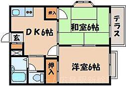 広島県広島市東区戸坂数甲2丁目の賃貸アパートの間取り