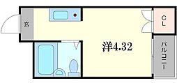 collection城北I 2階1Kの間取り