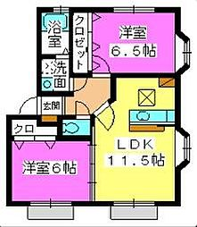 福岡県福岡市早良区原7丁目の賃貸アパートの間取り