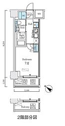 都営浅草線 人形町駅 徒歩9分の賃貸マンション 5階1Kの間取り