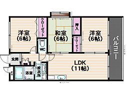 福岡県福岡市南区若久6丁目の賃貸マンションの間取り