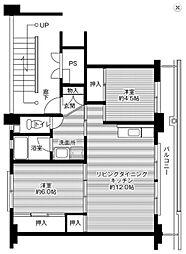 ビレッジハウス 米子 2号棟 3階2LDKの間取り