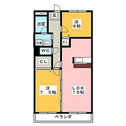 ラ・カーサSHIMADA[1階]の間取り