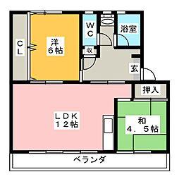 リバーサイドハイツ丸山B[2階]の間取り