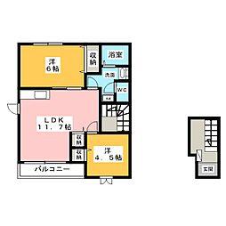 シャトー八幡A棟[2階]の間取り