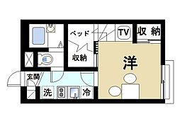 近鉄京都線 山田川駅 徒歩17分の賃貸アパート 2階1Kの間取り