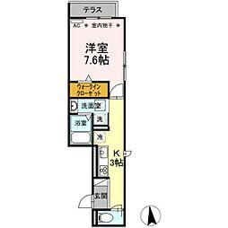 バス 大宝町下車 徒歩3分の賃貸アパート 2階1Kの間取り