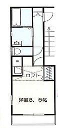 JR中央線 国立駅 徒歩13分の賃貸アパート 1階ワンルームの間取り