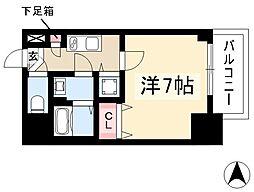 エスプレイス鶴舞ガーデンテラス 2階1Kの間取り