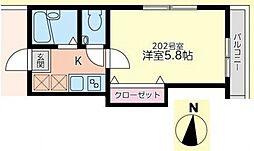 オネスティ松戸[202号室号室]の間取り