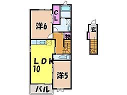 愛媛県松山市姫原2丁目の賃貸アパートの間取り