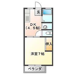 岡本ハイツ上野[2階]の間取り