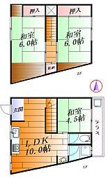 [テラスハウス] 大阪府吹田市千里丘下 の賃貸【/】の間取り