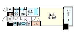 阪急宝塚本線 三国駅 徒歩7分の賃貸マンション 10階1Kの間取り