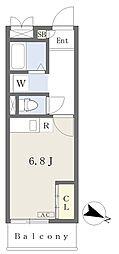 CIELO渡辺通 3階ワンルームの間取り