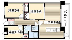 愛知県名古屋市名東区高針4丁目の賃貸マンションの間取り