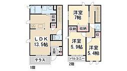 [テラスハウス] 兵庫県川西市大和東2丁目 の賃貸【/】の間取り