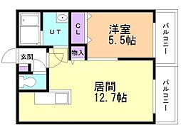 仮)北14西15MS 3階1LDKの間取り