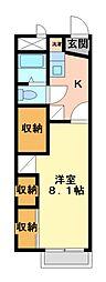 兵庫県神戸市北区山田町下谷上字芝山の賃貸アパートの間取り