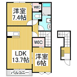 JR飯田線 飯田駅 バス60分 二ツ山下車 徒歩10分の賃貸アパート 2階2LDKの間取り
