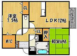 兵庫県神戸市西区伊川谷町長坂の賃貸アパートの間取り