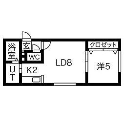 北海道札幌市豊平区豊平一条6丁目の賃貸アパートの間取り
