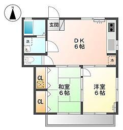 東京都日野市西平山5丁目の賃貸アパートの間取り