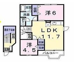 愛知県岡崎市大和町字鳥ケ城の賃貸アパートの間取り
