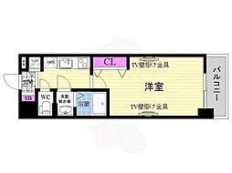 JR東海道・山陽本線 西大路駅 徒歩10分の賃貸マンション 5階1Kの間取り