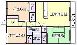 サンライズ東合川[2階]の間取り