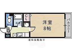 白鷺TKハイツ2号館 5階1Kの間取り
