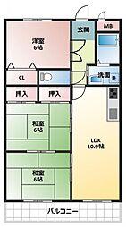 カームハイツ3番館[3階]の間取り