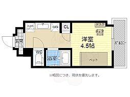 キャンパスヴィレッジ京都西京極 5階1Kの間取り