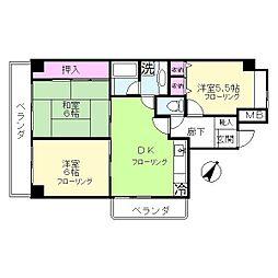 東京都大田区石川町2丁目の賃貸マンションの間取り