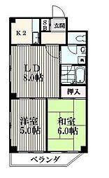 JR山手線 目黒駅 徒歩10分の賃貸マンション 11階2LDKの間取り