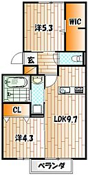 ボヌール チヒロ[2階]の間取り